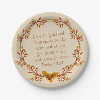 Assiettes En Papier Le vers de bible de guirlande de thanksgiving