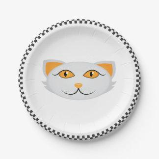 Assiettes En Papier Le visage du chat blanc avec la frontière