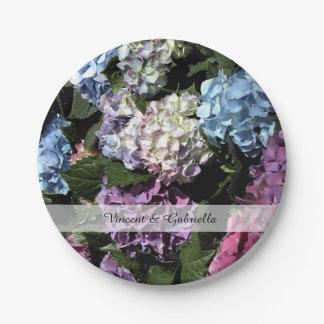 Assiettes En Papier L'hortensia coloré fleurit le mariage
