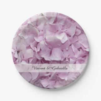 Assiettes En Papier L'hortensia rose mol fleurit le mariage