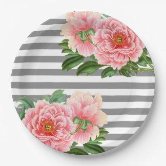Assiettes En Papier Lignes roses de gris de pivoines