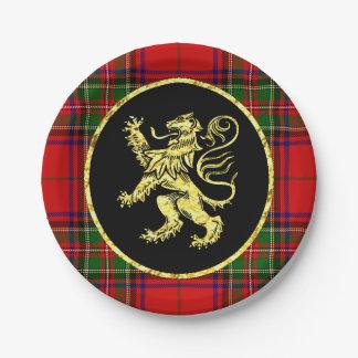 Assiettes En Papier Lion et plaid écossais d'or