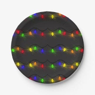 Assiettes En Papier Lumières de Noël de scintillement