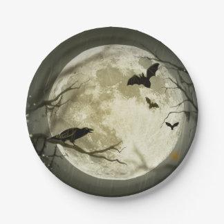 Assiettes En Papier Lune de Halloween - illustration de pleine lune