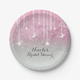 Assiettes En Papier Lune rose de blanc gris et baby shower céleste