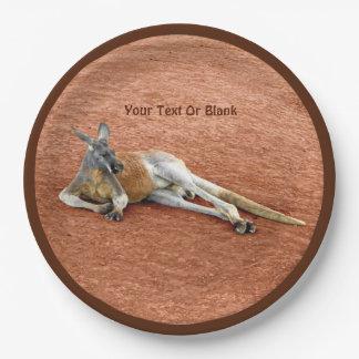 Assiettes En Papier Mâle rouge de repos de kangourou