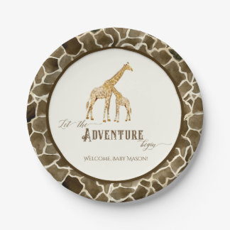 Assiettes En Papier Maman et bébé mignons de girafe d'aquarelle de