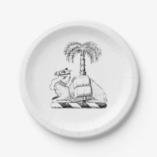 Assiettes En Papier Manteau de palmier de chameau des bras héraldique
