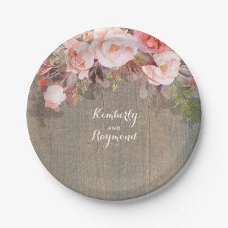 Assiettes En Papier Mariage campagnard en bois rustique floral rose