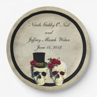 Assiettes En Papier Mariage de crâne de jeune mariée et de marié