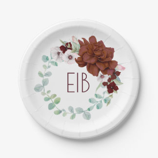Assiettes En Papier Mariage élégant floral de Bourgogne