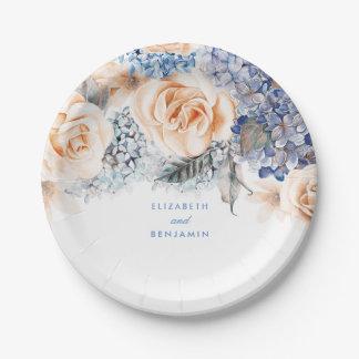 Assiettes En Papier Mariage élégant floral poussiéreux de bleu et de