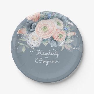 Assiettes En Papier Mariage élégant floral rose et bleu-clair
