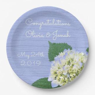 Assiettes En Papier Mariage en bois bleu de grain de fleur d'hortensia