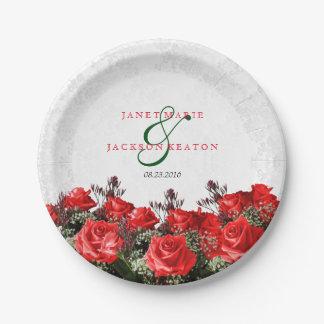 Assiettes En Papier Mariage floral de rose rouge