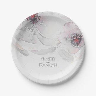 Assiettes En Papier Mariage floral rose gris d'aquarelle de plumes de