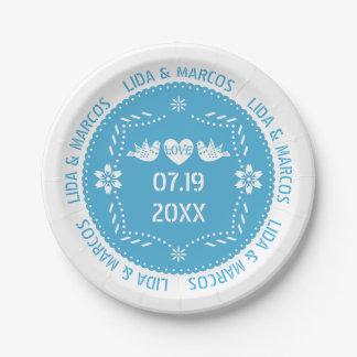 Assiettes En Papier Mariage mexicain bleu d'inséparables de picado de