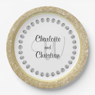 Assiettes En Papier Mariage noir élégant de monogramme de diamants