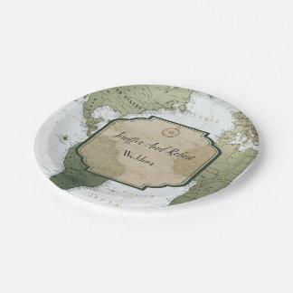 Assiettes En Papier Mariage orienté du monde de voyage vintage de