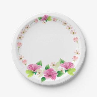 Assiettes En Papier Mariage rose et pourpre d'aquarelle florale de
