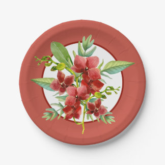 Assiettes En Papier Mariage rouge tropical d'aquarelle d'orchidée