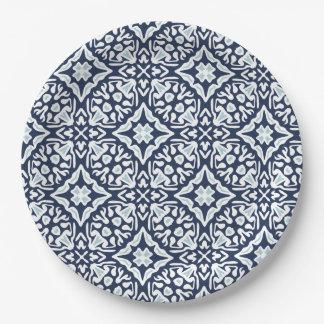 Assiettes En Papier Marine et motif méditerranéen blanc de tuile