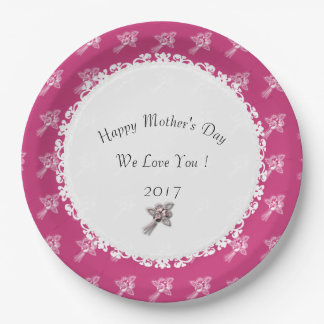 Assiettes En Papier Mère-Jour--Template_Mauve-White-Roses