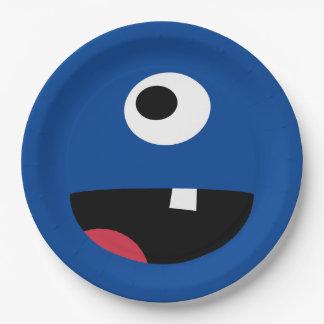 Assiettes En Papier Mignon bleu de monstre d'enfants de visage de