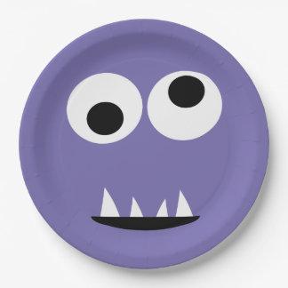 Assiettes En Papier Mignon pourpre de monstre d'enfants de visage de