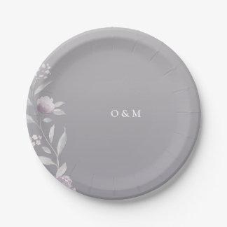 Assiettes En Papier Monogramme argenté floral élégant de mariage de