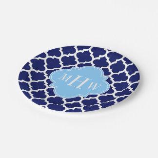 Assiettes En Papier Monogramme blanc de nom de bleu de ciel