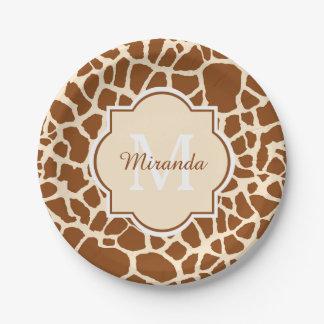 Assiettes En Papier Monogramme et nom élégants d'impression de girafe