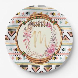 Assiettes En Papier Monogramme floral de Boho (m)