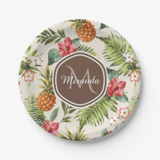 Assiettes En Papier Monogramme floral de Brown d'ananas tropical