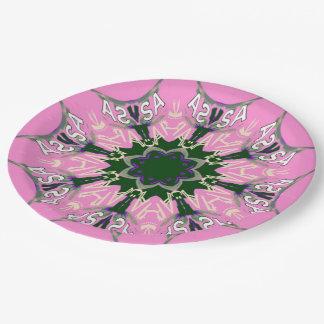 Assiettes En Papier Monogramme pourpre de motif d'ombre de belles