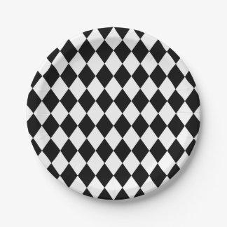 Assiettes En Papier Motif blanc lunatique de diamant de harlequin