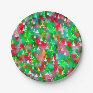Assiettes En Papier Motif d'aquarelle d'arbre de Noël