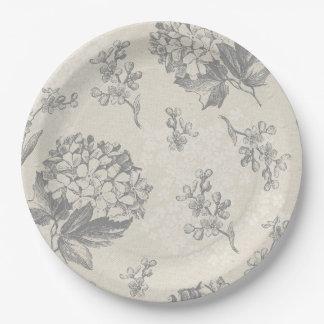 Assiettes En Papier Motif de fleur antique