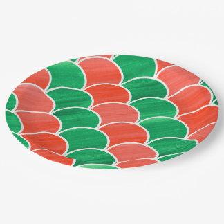 Assiettes En Papier Motif d'échelle peint par vert rouge de fête de