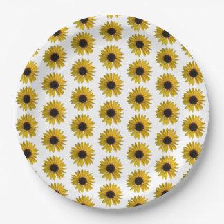 Assiettes En Papier Motif jaune de tournesol