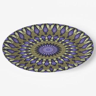 Assiettes En Papier Motif pourpre violet noir de mandala d'or de Faux