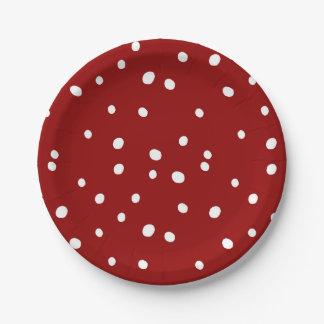 Assiettes En Papier Motif rouge de chute de neige mignon de Noël de