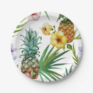 Assiettes En Papier Motif tropical d'ananas d'aquarelle de thème