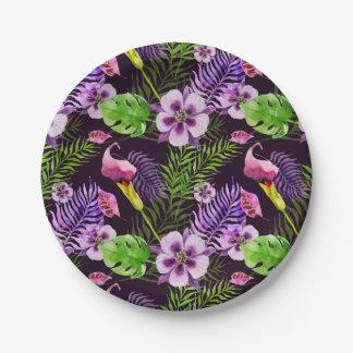 Assiettes En Papier Motif tropical pourpre noir d'aquarelle de flore