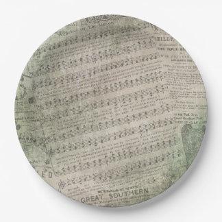 Assiettes En Papier Musique de feuille vintage irlandaise, port du