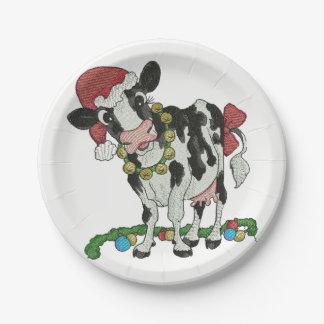 Assiettes En Papier Noël de Mooey ! Plats Vache-Orientés de fête de