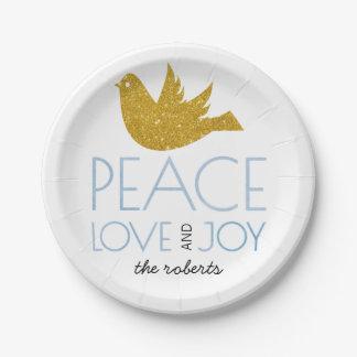 Assiettes En Papier Noël de paix d'amour de joie de baie de houx de