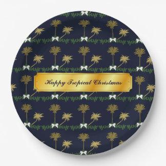 Assiettes En Papier Noël tropical de bleu et d'or avec des palmiers