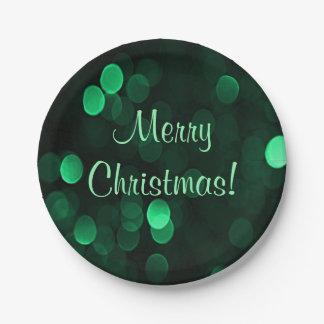 Assiettes En Papier Noël vert brillant de Bokeh de lumières de Noël