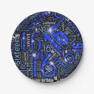 Assiettes En Papier Nuage ID265 bleu de mot d'étincelle de sweet
